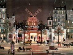 Michel Delacroix French Artist Naive Painting ~ Moulin Rouge Under the Rain