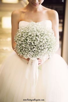 Baby's Breath Wedding Inspiration: 20 Ways to incorporate inexpensive Baby's Breath into your wedding - bouquets, flower crowns and cake decorations. White Wedding Bouquets, Bride Bouquets, Wedding Dresses, Gypsophila Wedding Bouquet, Bridesmaid Bouquets, Flower Bouquets, Flower Crowns, Baby's Breath Wedding Bouquet, Lavender Bouquet