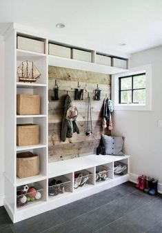 mud room Best DIY Rustic Home Decor Ideas That You Could Create It Quickly - Page 8 of 29 - cand Mudroom Laundry Room, Mudroom Cubbies, Rustic Entryway, Entryway Ideas, Entryway Decor, Entryway Closet, Entrance Ideas, Home Organization, Mudroom Storage Ideas