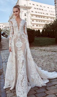 Long Sleeves Heavy embellishment Fit and Flare Wedding Dress  wedding   weddingdress  weddinggown   9205287ca52b