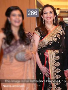 Nita Ambani Black Bollywood Style Saree by Vendorvilla.com
