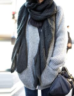 Cosy jumper and scarf.