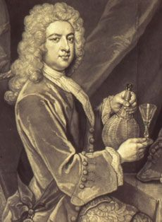 Thomas Pelham-Holles, the Duke of Newcastle demonstrates how the glass is being gripped by the foot, the correct way of holding a glass in the seventeenth and early eighteenth century. Producers of TV period dramas and history documentaries please take note, as actors never get this right.
