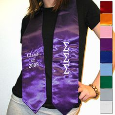 This graduation stole comes in a variety of colors. The stole comes with your organizations' greek letters embroidered going down the left side of the stole.