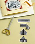 Ribbon Photo Corners: Give a decorative touch to your photo albums by making ribbon mounts. Start with a 3-inch strip of grosgrain ribbon. Fold both ends down at the midpoint to form a triangle; iron. Repeat until you have two or four ribbons for each picture. Slip triangles -- with seams in back -- over corners of photos, and use acid-free double-sided photo tape to affix them to album pages.