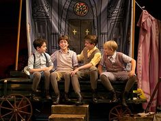 Alex Dreier as Michael Llewelyn Davies, Aidan Gemme as Peter Llewelyn Davies, Sawyer Nunes as George Llewelyn Davies, Hayden Signoretti as Jack Llewelyn Davies in Finding Neverland