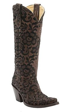 Corral Women's Chocolate with Black Lace Floral Embroidered Overlay Tall Snip Toe Western Boots