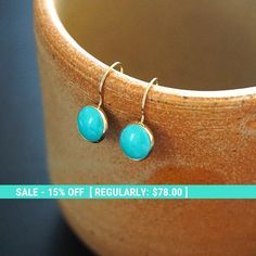 Gold Turquoise Earrings  14K Turquoise Earrings  Gold Drop