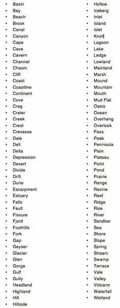 Words to use when building landforms
