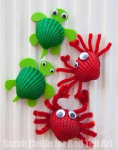 shells crab craft - ocean kid craft - crafts for kids- kid crafts - acraftylife.com #preschool