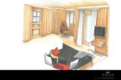 modernes Wohn- & Esszimmer Neuschwanstein, Loft, Bed, Furniture, Home Decor, Modern Home Design, Living Dining Rooms, New Construction, Interior