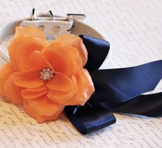 Orange Navy Blue wedding dog collar, Floral dog Collar- Orange flower and Rhinestone, dog Wedding accessory Unique Dog Collars, Handmade Dog Collars, Dog Birthday Gift, Dog Wedding Dress, Beaded Dog Collar, Navy Flowers, Dog Store, Orange Wedding, Dog Dresses