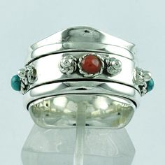 TURQUOISE & CORAL STONE !! ATTRACTIVE DESIGN 925 STERLING SILVER SPINNER RING #SilvexImagesIndiaPvtLtd #Spinner