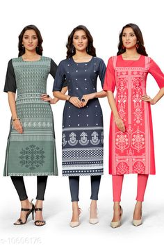 Checkout this latest Kurtis Product Name: *Trendy Women's Kurti* Fabric: Crepe Sleeve Length: Three-Quarter Sleeves Pattern: Printed Combo of: Combo of 3 Sizes: S (Bust Size: 36 in, Size Length: 44 in)  M (Bust Size: 38 in, Size Length: 44 in)  L (Bust Size: 40 in, Size Length: 44 in)  XL (Bust Size: 42 in, Size Length: 44 in)  XXL (Bust Size: 44 in, Size Length: 44 in)  Country of Origin: India Easy Returns Available In Case Of Any Issue   Catalog Rating: ★4 (370)  Catalog Name: Kashvi Petite Kurtis CatalogID_1942455 C74-SC1001 Code: 945-10606176-1851