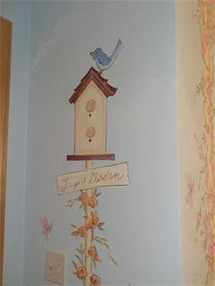 birdhouse garden mural for girls