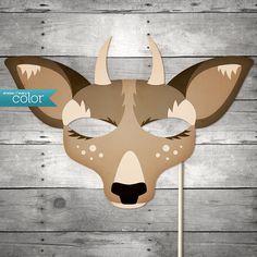DIY Printable Spike Horn Deer Mask - Halloween, Birthdays, masquerade ball, mardi gras, and weddings via Etsy