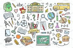 Ready for school? It's cute school hand drawn illustrations for your design :) --- All elements are available in vector (you can resize and recolor it) and in Floral Illustrations, Graphic Illustration, Abc School, Diy Crafts To Do, Sketch Notes, School Readiness, How To Draw Hands, Doodles, Clip Art