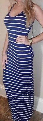 Nautical Navy Striped Sleeveless Long Maxi Racerback Dress Tank Urban Resort S