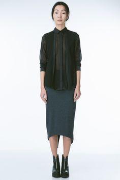 ANTHOM - Black Sheer Blouse - Tops - Clothing