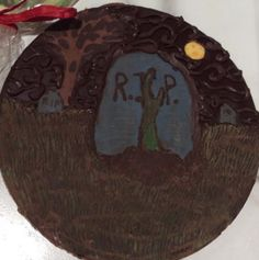 Scary chocolate zombie emerging from a chocolatey grave....