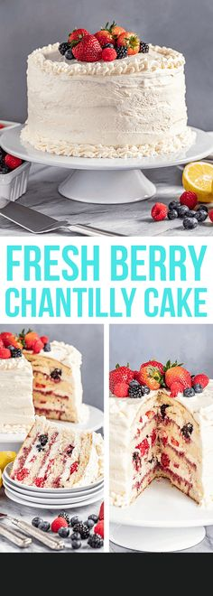 Fresh Berry Chantilly Cake is a delicious vanilla sponge cake layered with fresh berries and topped with mouth watering mascarpone and Chantilly cream. Chantilly Cake Recipe, Berry Chantilly Cake, Chantilly Cream, Best Cake Recipes, Dessert Recipes, Dessert Ideas, Favorite Recipes, Just Desserts, Delicious Desserts
