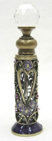 Perfume Bottle with Purple Flowers & Stones