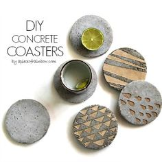 The 36th AVENUE * DIY Concrete Coasters With Decorative Inserts ~ The 36th AVENUE