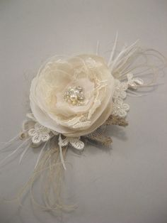 Vintage fascinator Wedding hairpiece small Rustic burlap bridal flower shabby chic clip lots lace Beige champagne Ivory feather Fascinator. $36.00, via Etsy.