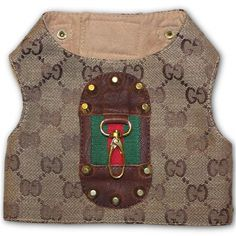 Dress your pooch to the nines with this Gucci inspired monogram dog harness.