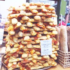 A giant Jenga of cheese sticks at Borough Market From the PaintSewGlueChew instagram feed.