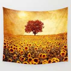 Buy lone tree & sunflowers field by Viviana Gonzalez as a high quality Wall Tapestry. Worldwide shipping available at Society6.com. Just one of millions of products available.