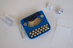 Blue Typewriter Brooch by greenaccordion on Etsy