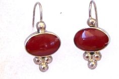 Vintage Earrings Red Jasper Sterling Pierced by JennyFindsVintage