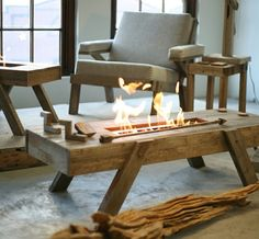 Drift Furniture: A coffee table with a bush feel and a built-in bio-ethanol fire burner.