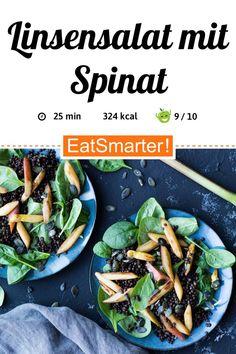 Feine Gemüseküche: Linsensalat mit Spinat, Rhabarber und Spargel - kalorienarm - schnelles Rezept - einfaches Gericht - So gesund ist das Rezept: 9,1/10   Eine Rezeptidee von EAT SMARTER   Darmflora, Diabetiker, Erhöhter Cholesterinspiegel, Gesunde Augen, Frühlingsgerichte, Vegetarische Frühlingsrezepte, Feierabend-Rezepte, Salat to-go, Was koche ich heute, Bürgerlich, Einfach, für 2 Personen, Für jeden Tag, Was koche ich morgen, Mittagessen, Abendessen #linsensalat #gesunderezepte