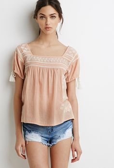 Tassel Embroidered Peasant Top   Forever 21 - 2000078225