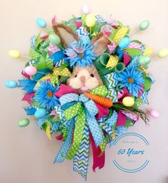 ... Easter Wreath with Bunny, Carrot, and Easter Eggs, Spring Wreath