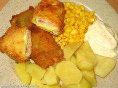 ZELNÉ ZÁVITKY jednoduché lehké a výborné   Hlávkové zelí-pár listů, šunka-šunkový salám, sýr -plátky, přísady na obalení a tuk smažení.  POSTUP PŘÍPRAVY  Listy zelí spaříme ve vroucí vodě, vykrojíme košťál, rozřízneme na potř. velikost, na list dáme plátek šunky, plátek sýru, možno osolit, ale sýr i salám jsou již slané, přeložíme, nebo zamotáme, obalíme v trojobalu-mouka, vajíčko, strouhanka.Smažíme. Jako příloha vařené brambory, hranolky, bramb. kaše + obloha, tatarka. Czech Recipes, Ethnic Recipes, Snack Recipes, Snacks, Hawaiian Pizza, Cauliflower, Good Food, Food And Drink, Potatoes