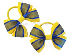 Yellow and royal blue organza hair bows on thick bobbles - www.dreambows.co.uk hairbows, organza hair bows, bows for sale, sale hair accessories, shop for school hair accessories, dreambows