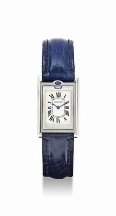 Cartier. An unusual stainless steel and sapphire-set rectangular reversible wristwatch. circa 2000. #watch #ChristiesWatches