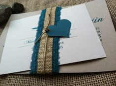 Love the heart... Wedding Invitation - RUSTIC - Modern - Marianne Collection - Teal - Burlap - Lace - Hemp - Custom - Recycled - Eco Friendly. $4.75, via Etsy.