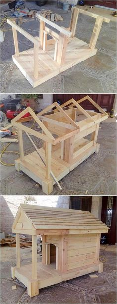 People mostly weste the shipping pallets but there are fantastic ideas for upcycling of these wooden pallets. You can modify design of your furniture and design… Wood Dog House, Pallet Dog House, Dog House Bed, Recycled Pallets, Wooden Pallets, Recycled Wood, Pallet Benches, Pallet Tables, Pallet Bar
