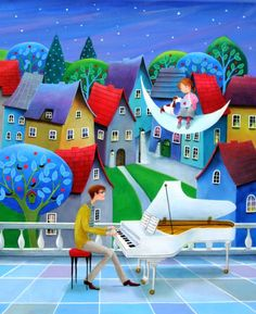 "Saatchi Art Artist Iwona Lifsches; Painting, ""Monlight Song For My Daughter,  SOLD"" #art"