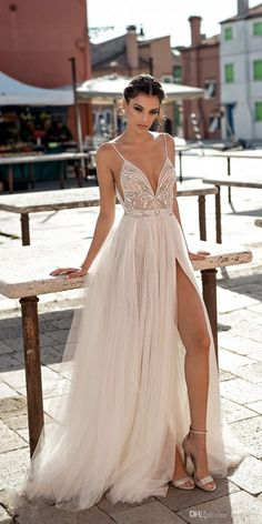 gali karten 2018 bridal spaghetti strap deep plunging sweetheart neckline heavily embellished bodice high slit skirt soft a line wedding dress open scoop back sweep train mv -- Gali Karten 2018 Wedding Dresses Source by evacharizani Dresses boho Dresses Elegant, Beautiful Dresses, Formal Dresses, Maxi Dresses, Matric Dance Dresses, Event Dresses, Beach Dresses, Slit Prom Dresses, Long Dresses