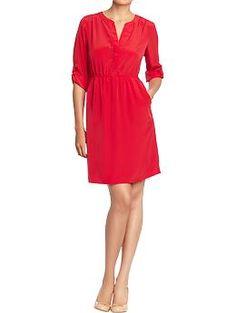 Women's Split-Neck Tab-Sleeve Crepe Dress (Amaryllis Red). Old Navy. $29.94