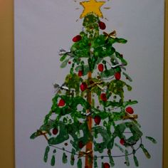 Decorated handprint Christmas tree
