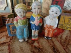 International Trio Penny Dolls Lot of Three from the 20s Quite a Character!