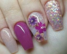 Fabulous Nails, Gorgeous Nails, Pretty Nails, Toe Nails, Pink Nails, Fruit Nail Art, Encapsulated Nails, Square Nails, Flower Nails