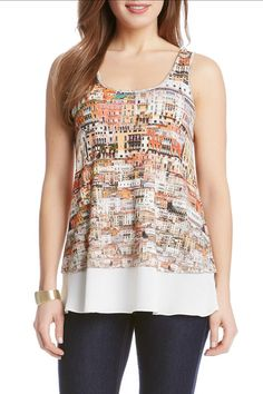 Scoop neck tank with an Italian Cityscape print, and a contrast hem.   Cityscape Tank by Karen Kane. Clothing - Tops - Tees & Tanks Texas