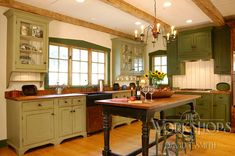 Louis 7 Green Kitchen Bar Vanity - traditional - Kitchen - St Louis - The Workshops of David T. Unfitted Kitchen, Kitchen In, Colonial Kitchen, Green Kitchen, Kitchen Decor, Kitchen Ideas, Sage Kitchen, Sweet Home, Green Cabinets